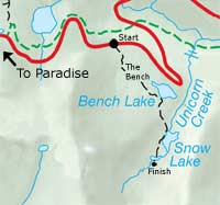 Bench Lake to Snow Lake Hike Map - Click for Larger Map