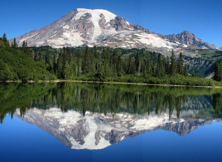 View of Mt. Rainier from Bench Lake